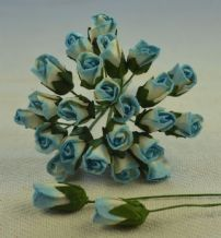 6mm CYAN OFF WHITE ROSE BUDS (L) Mulberry Paper Flowers